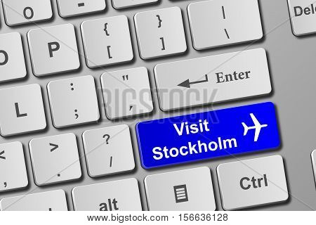 Visit Stockholm Blue Keyboard Button