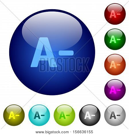 Decrease font size icons on round color glass buttons