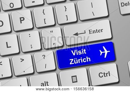 Visit Zurich Blue Keyboard Button