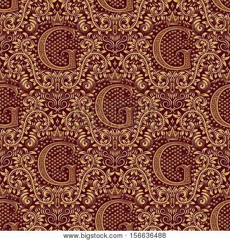 Damask seamless pattern repeating background. Golden maroon floral ornament with G letter and crown in baroque style. Antique golden repeatable wallpaper.