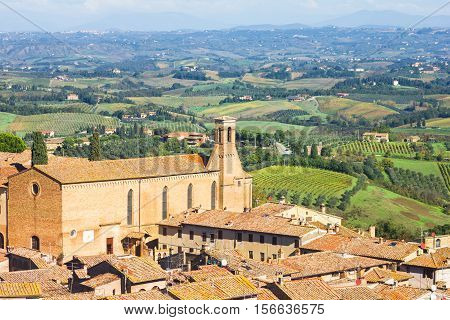 View of San Gimignano and the landscape in Tuscany, Italy