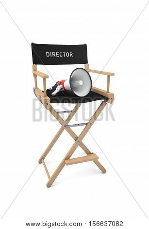 Film director's chair with megaphone isolated on white background. 3d rendering