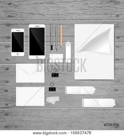 Collection of business items, various papers, paper designs ready for your message. Vector illustration.