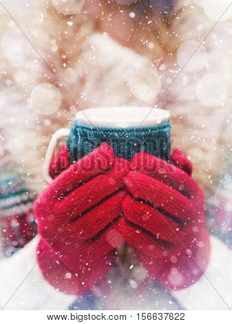 Female hands holding knitted winter mug close up. Woman red and blue mittens holding a cozy knitted cup with hot cocoa, tea or coffee. Winter and Christmas time concept.