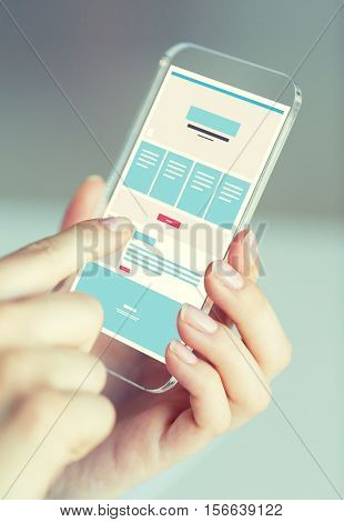 business, technology and people concept - close up of woman hand holding and showing transparent smartphone web page design on screen