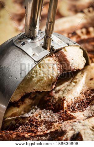 Closeup of make scoop of ice cream