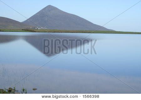 Achill Lake Scene Mount Slievemore