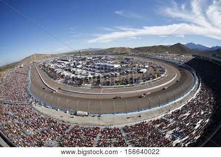 Avondale, AZ - Nov 13, 2016: The NASCAR Sprint Cup series battle for position during the Can-Am 500(k) at the Phoenix International Raceway in Avondale, AZ.