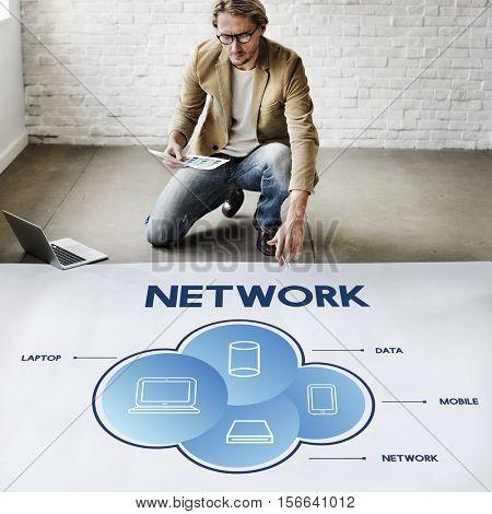 Network Cloud Communication Connection Concept