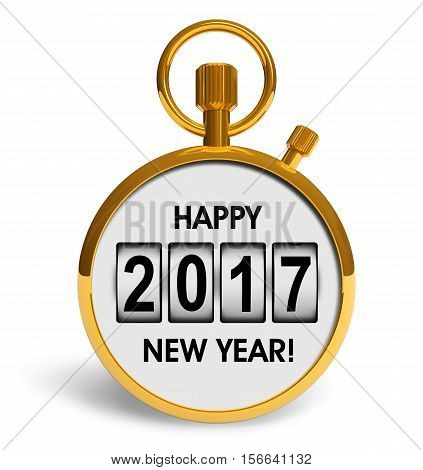 3D render illustration of golden stopwatch with Happy New Year 2017 congratulation text isolated on white background