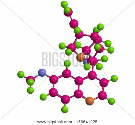 Quinine - chemical compound and medication to treat malaria and babesiosis 3D rendering