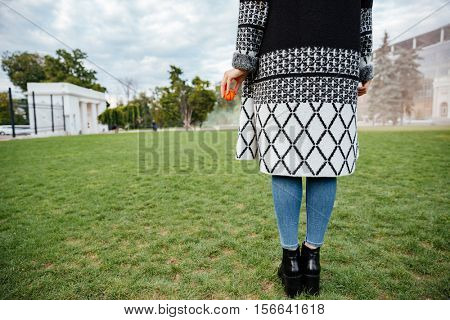 Back view of woman standing on lawn and holding small ball for her dog in park
