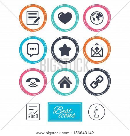 Mail, contact icons. Favorite, like and internet signs. E-mail, chat message and phone call symbols. Report document, information icons. Vector