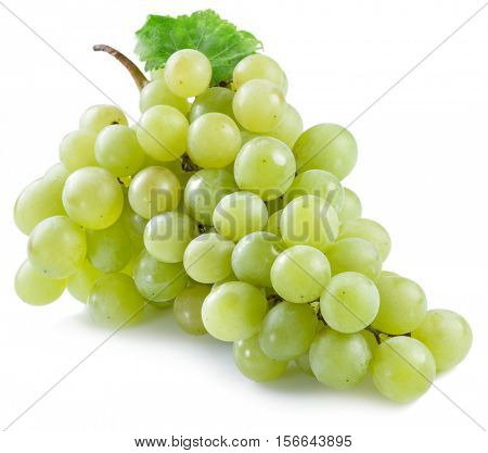 Bunch of white grapes on the white background.