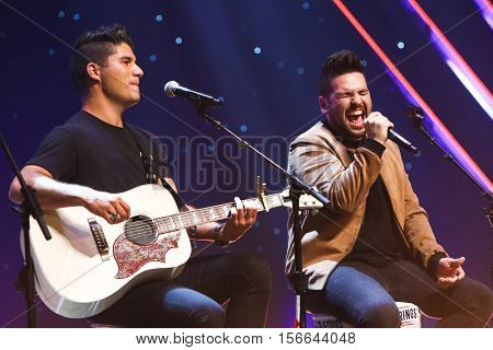 CHICAGO-NOV 9: Dan + Shay perform at CBS Radio's Stars & Stripes event at the Chicago Theatre on November 9, 2016 in Chicago, Illinois.