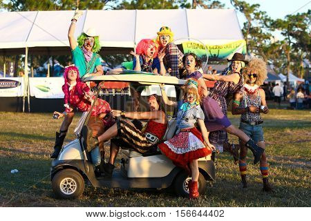 LAKE WALES, FL-NOV 5: Clowns perform at the CountryFlo Music and Camping Festival on November 5, 2016 in Lake Wales, Florida.