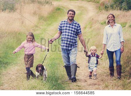 Family Walking Dog Togetherness Nature Concept