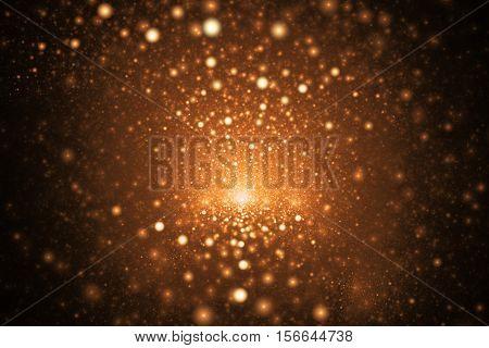 Supernova Explosion. Abstract Colorful Golden Sparks On Dark Background. Fantasy Fractal Texture For