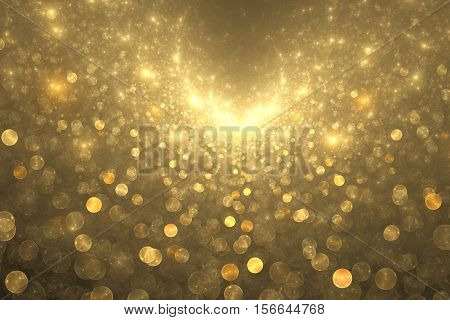 Supernova Explosion. Abstract Colorful Golden Drops On Dark Background. Fantasy Fractal Texture For