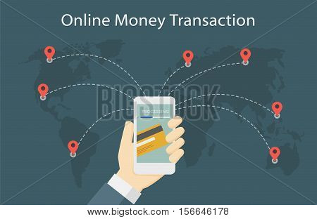 Online Money Transaction Around The World Illustration
