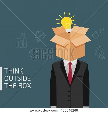 Man Think Outside The Box Metaphor, Ideas Concept Of Man With Opened Box And Light Bulb In His Head