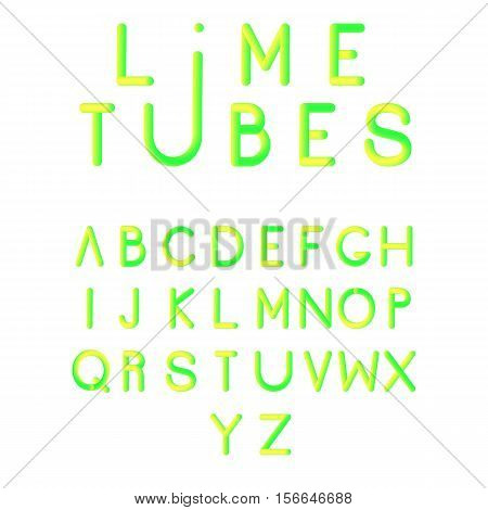 Typographic alphabet in a set. Three-Dimensional stock vector typography