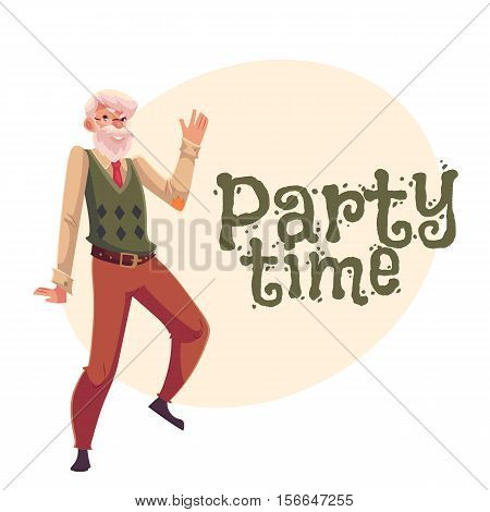 Old, senior, gray-haired man dancing happily, cartoon style invitation, banner, poster, greeting card design. Party invitation, advertisement, poster template with old man dancing happily