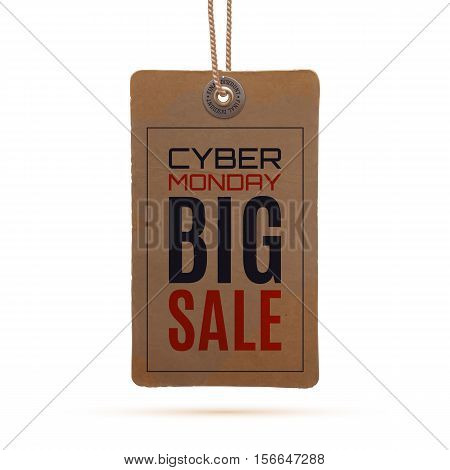 Cyber Monday sale. Realistic, vintage price tag , isolated on white background. Vector illustration.