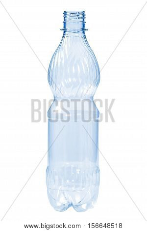 New, clean, empty plastic bottle blue color, isolated on white background,