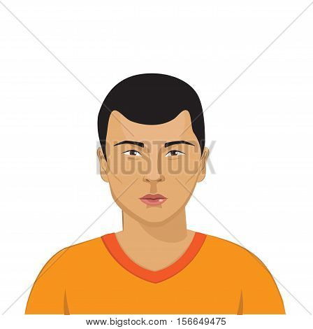 The Peoples Of The World. The Appearance Of The Peoples Of The World. Society And People. The Variety And Beauty Of The People. Asian Man Portrait Vector. Man's Head Isolated On White.