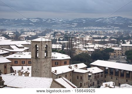 Winter view of Gubbio covered by snow