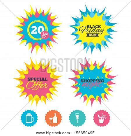 Shopping night, black friday stickers. Alcoholic drinks icons. Champagne sparkling wine and beer symbols. Wine glass and cocktail signs. Special offer. Vector