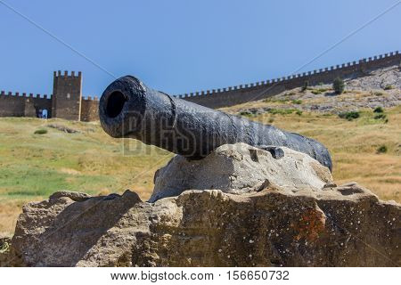 Old cannon on the background of the fortress. Medieval fortress.