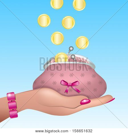 Woman hand with pink nails and bracelet holding cute retro purse with pink bow. Gold coins raining into the purse. Vector EPS10 realistic illustration.
