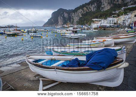capri island fishery boat mediterranean sea southern of italy