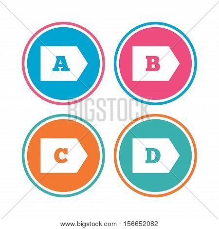 Energy efficiency class icons. Energy consumption sign symbols. Class A, B, C and D. Colored circle buttons. Vector