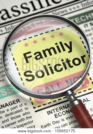 Illustration of Classified Ad of Family Solicitor in Newspaper with Magnifying Glass. Family Solicitor - Close View Of A Classifieds Through Loupe. Job Search Concept. Selective focus. 3D Render.