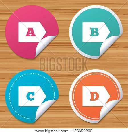 Round stickers or website banners. Energy efficiency class icons. Energy consumption sign symbols. Class A, B, C and D. Circle badges with bended corner. Vector
