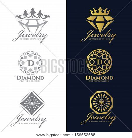 Jewelry logo (Crown Diamond and flower) vector set and isolate on white background vector set design