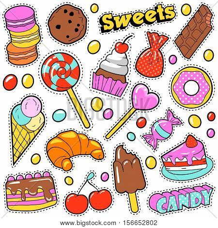 Sweet Food Badges Set with Patches, Stickers, Candies, Cakes, Ice Cream in Pop Art Comic Style. Vector illustration