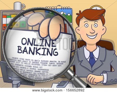 Business Man Showing Paper with Concept Online Banking. Closeup View through Magnifier. Colored Modern Line Illustration in Doodle Style.