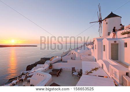 OIA, GREECE - NOVEMBER 06, 2016: Oia village on Santorini island in Greece on November 06, 2016.