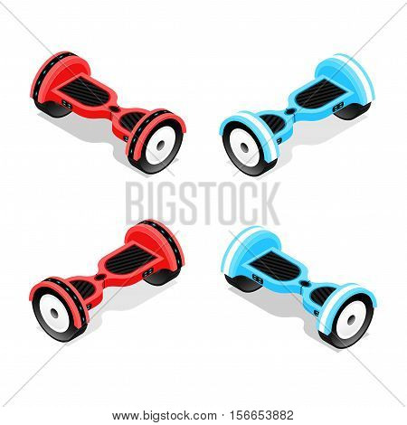 Gyroscooter Red and Blue Set Isometric View Hoverboard, Two-Wheel Self-Balancing Scooter. Vector illustration