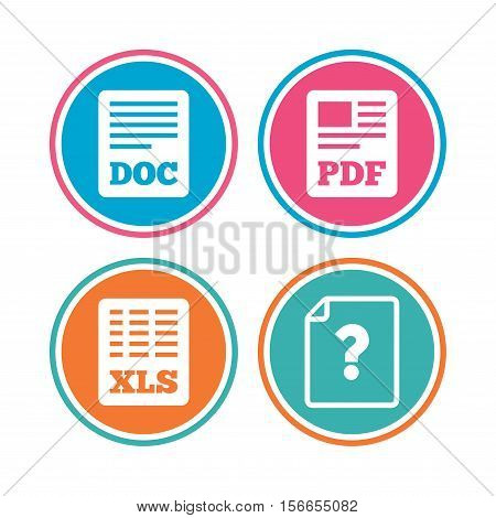 File document and question icons. XLS, PDF and DOC file symbols. Download or save doc signs. Colored circle buttons. Vector