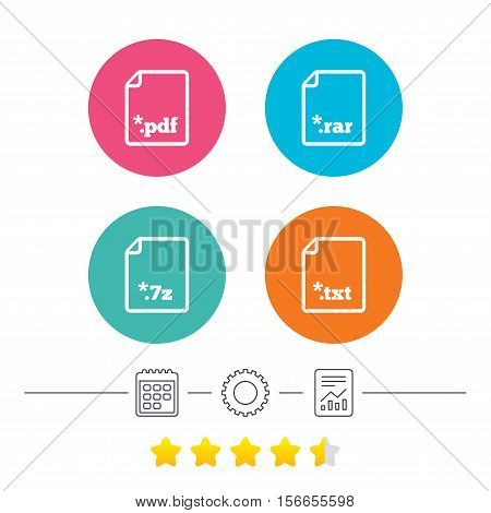 Download document icons. File extensions symbols. PDF, RAR, 7z and TXT signs. Calendar, cogwheel and report linear icons. Star vote ranking. Vector