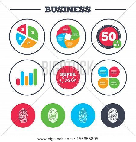 Business pie chart. Growth graph. Fingerprint icons. Identification or authentication symbols. Biometric human dabs signs. Super sale and discount buttons. Vector