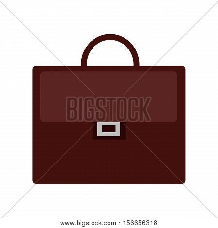 Brown briefcase icon in flat. Leather briefcase with handle and clasps. Businessman accessory. Business design element. Isolated vector illustration on white background.