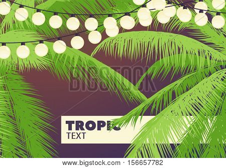 Palm trees with yellow garlands with a place for your inscription