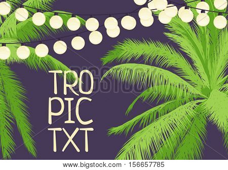 party among palm trees decorated with garlands with a place for your inscription