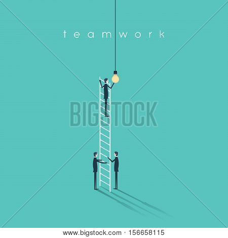Business teamwork concept with businessmen changing lightbulb. Success, creativity and cooperation vector symbol. Eps10 vector illustration.